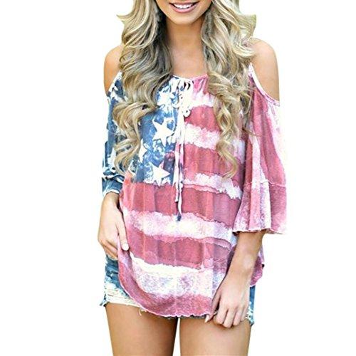 SHOBDW Damen Bekleidung Frauen Amerikanische Flagge Muster Lose Schulterfrei T Shirt Tops Bluse Plus Größe (S, Rot)