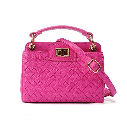 meine damen - handtasche mini - schrägen weben tasche rose red