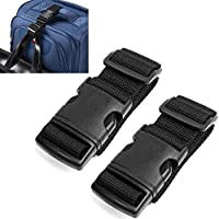 AVESON Pack of 2 Add-A-Bag Luggage Strap, Baggage Suitcase Adjustable Belt Travel Accessories Attachment, Black