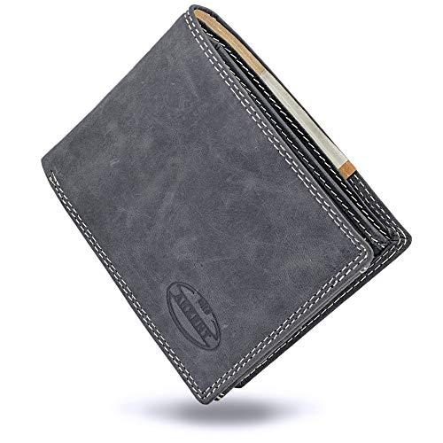 Akzent Geldbeutel für Männer aus echtem Leder in schwarz grau   11 Kartenfächer   Vintage Look (Schwarz) - Schauen Sie Akzente