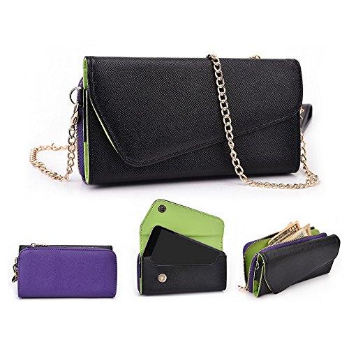 Kroo d'embrayage portefeuille avec Wristlet et bandoulière pour Motorola Moto G noir/gris Black and Purple