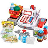 KX Multifunctional Electronic Cash Register Toy Set For Children 38 Realistic Pieces Pretend Play Set With Sound And Action (Red)