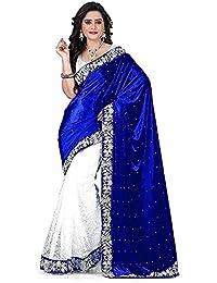 Rensila Women's Velvet & Russel Net Saree With Blouse Piece (Bluevelvet ,Blue & White Free Size)