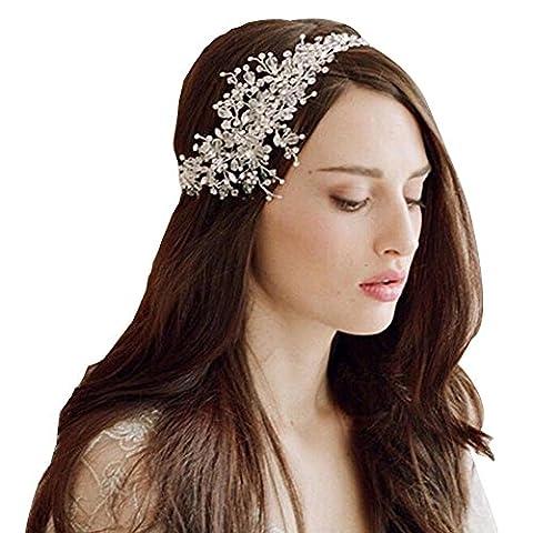 DUUMY Mme Haut de Gamme Ornements de Cheveux Accessoires de Cheveux de Mariée Cristal Faits à La Main Mariés Couronne , shining silver
