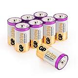 8 Batterie di Tipo D - Confezione da 8 Pile Torcia Alkaline formato D - GP Batteries - Batteria Torcia dalla Durata Extra - LR20 - 13A - Torce da 1.5V - MN1300