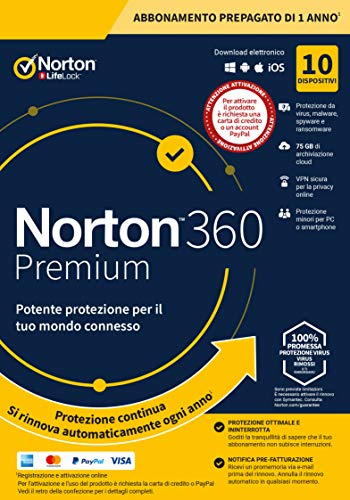 norton 360 premium 2020 antivirus software per 10 dispositivi e 1 anno di abbonamento con rinnovo automatico secure vpn e password manager pc, mac, tablet e smartphone