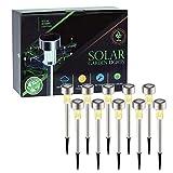 DeepDream Solar Gartenleuchte 10 Stück 38CM Hoch IP65 Wasserdichte Energiesparende LED Solarlampe, Warmweiß, Edelstahl, Ideal für Terrasse, Rasen, Garten und Wege