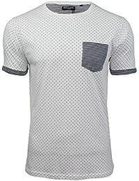 Brave Soul 'Christi' - T-shirt Homme Manches courtes Motifs pois Poche poitrine avec contraste