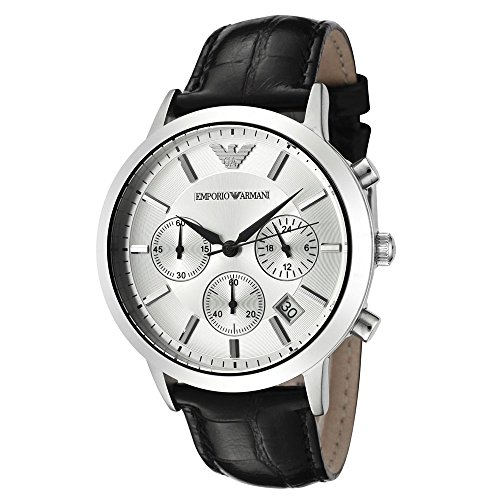 Men's Emporio Armani AR2432 Quartz Silver Dial Genuine Leather Watch