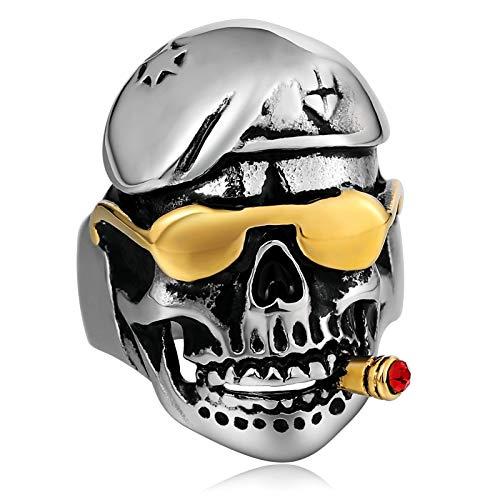 Amody 30MM Edelstahlringe für Herren Punk Ring Lustige CZ Schädel mit Sonnenbrille Silber Gothic Rings Knuckle Größe 60 (19.1)