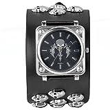 JewelryWe Herren Armbanduhr, Analog Quarz, Punk Rock Biker Totenkopf Sport Uhr mit Breit Leder Armband & Gross Quadrat Zifferblatt, Schwarz Silber