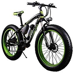 RICH BIT® Bicicletas Eléctricas RT012 350W motor 36 vatios 10.4ah batería de iones de litio 21 velocidad hombre bicicleta de montaña 26 pulgadas neumático grasa bici crucero verde