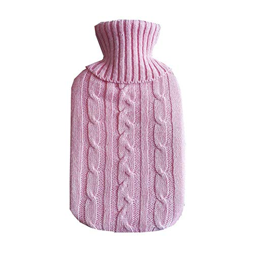Bobopai 1x Knitted Cover for Hot Water Bottle 2000ml - Knitted Insulator - Cover only (Hot Water Bottle not Included)-31 * 20cm- Pink