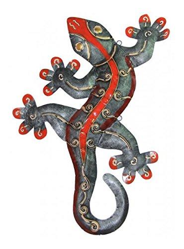 Impressionata Deko Figur Gecko Eidechse aus Metall Grau Rot, 50/80 cm, Wanddekoration Wandfigur Metallfigur Dekofigur Skulptur für Wand, Länge:50 cm