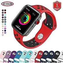 FunBand® Correa para Apple Watch,Ajuste Fácil Transpirable con Orificios de Ventilación Nike + Style Edition Sport Pulsera Banda Reemplazo de Silicona Suave (42 mm) para iWatch Series 3, Serie 2, Serie 1 (Rojo-Negro)