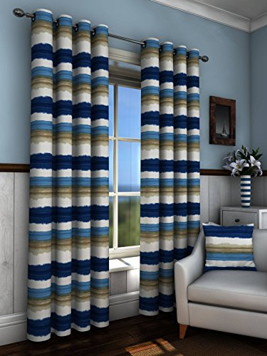 Sundour Curtains  - St Ives in Blue; 90'x90'. Eyelet Header, Printed Poly Cotton Half Panama.
