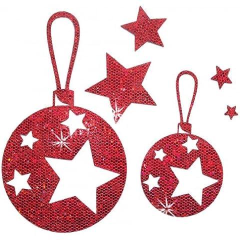 Tessuto con paillettes per albero di Natale, colore: rosso, Iron-On-Transfer PatchMommy-Patch Kid