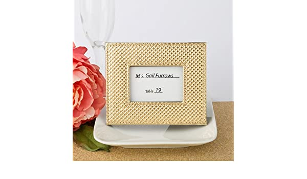 92ca8d9f6bb Gold metallic photo frame or placecard holder with textured leatherette  diamond finish  Amazon.co.uk  Kitchen   Home