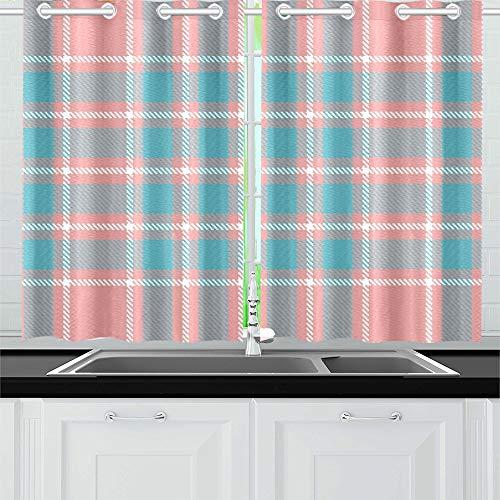 JINCAII Scottish Tartan Plaid Küche Vorhänge Fenster Vorhang Ebenen für Café, Bad, Wäscheservice, Wohnzimmer Schlafzimmer 26 x 39 Zoll 2 Stück - Küche Vorhänge Plaid