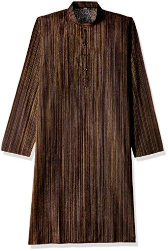 Sobre Estilo Men's Knee Long Linen Kurta (WV001-Striped Linen_X-Large Black)  available at amazon for Rs.449