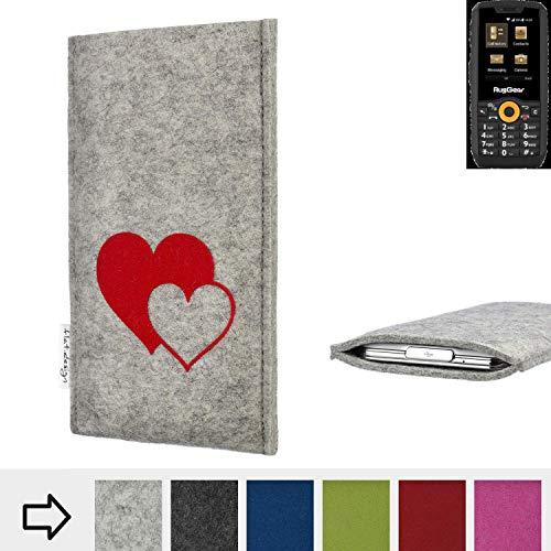 flat.design Handy Hülle für Ruggear RG150 Faro mit Herzen Filz Schutz Tasche Case Sleeve handgemacht