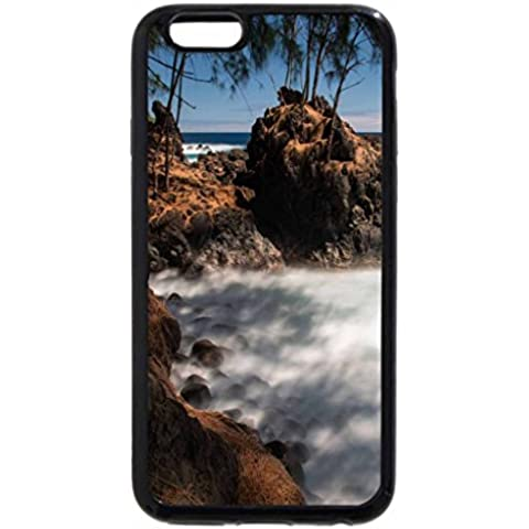 iPhone 6S / iPhone 6 Case (Black) Laupahoehoe Point East Coast Big Island Hawaii - volcanic rock beach and surf - East Rock