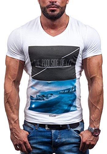 Bolf Herren T-shirt Figurbetont Kurzarm Party Print Motiv Aufdruvk 3C3 Weiß