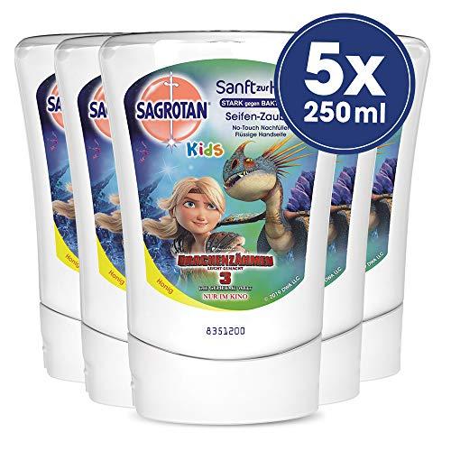 Sagrotan No-Touch Kids Nachfüller Seifenzauber Kamille – Für den automatischen Seifenspender – 5 x 250 ml Handseife im praktischen Vorteilspack