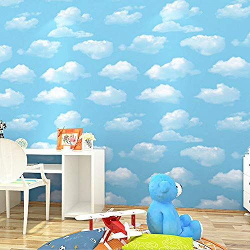Carta da Parati Collezione Per Bambini Minimalista 3D Tessuto Non Tessuto Carta da Parati Rullo per Camera da Letto Salotto TV Sfondo Muro Home Decorazione, Nube