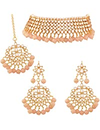 I Jewels Traditional Kundan & Peach Pearl Choker Necklace Set For Women (K7075Pe)