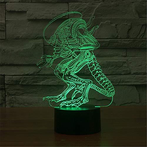 3D LED Night Light Alien Illusion como regalo para los amantes del cine, control remoto táctil, decoración del hogar