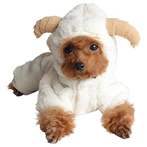 Eastlion Lovely Schaf Cosplay Fleece Warm Kleine Haustier Hundemäntel Pullover Hooded Puppy Halloween Kleider, Weiß XL (11-13kg)