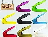 SchuhMe® 8 x Verstellbarer Profi Schuhstapler/Schuhhalter – Magic Shoe Rack Organizer - Sparset für 8 Paar Schuhe (Bunt)