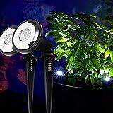 2er Set Solar Spotlight mit weißen LEDs Solar LED Strahler Lights4fun
