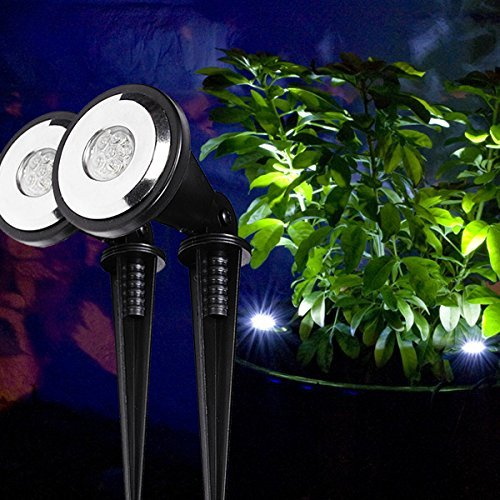 2er Set Solar Spotlight mit weißen LEDs Solar LED Strahler Lights4fun