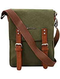 Balachia Canvas & Leather Sling Travel Messenger Bag With Multiple Pockets For Unisex