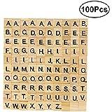 ULTNICE 100pcs Cartas de la letra Cartas de madera Juegos de los azulejos de Scrabble del