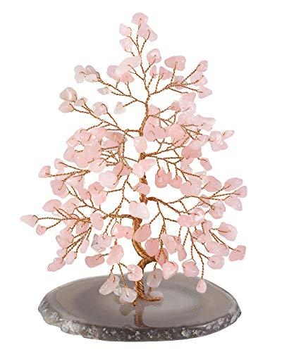 Crystaltears - statuetta ornamentale in cristallo naturale dei 7 chakra feng shui, con supporto geode a fetta di agata, per ricchezza, buona fortuna, casa, ufficio, rose quartz crystal tree
