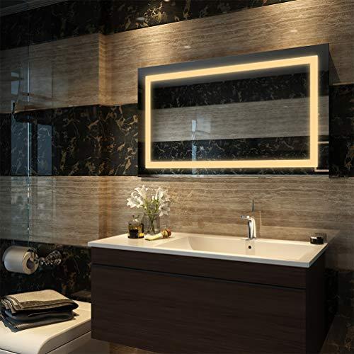 EMKE LED Badspiegel 100x60cm Badezimmerspiegel mit Beleuchtung Warmweissen Lichtspiegel Wandspiegel IP44 energiesparend