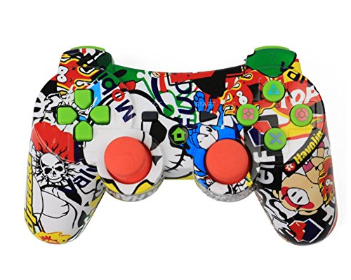 Vicstar Bluetooth Wireless Gamepad Controller Doppelte Vibration Game-Controller für PS3 Playstation 3 - Double Shock 3 Wireless Controller - Colorful