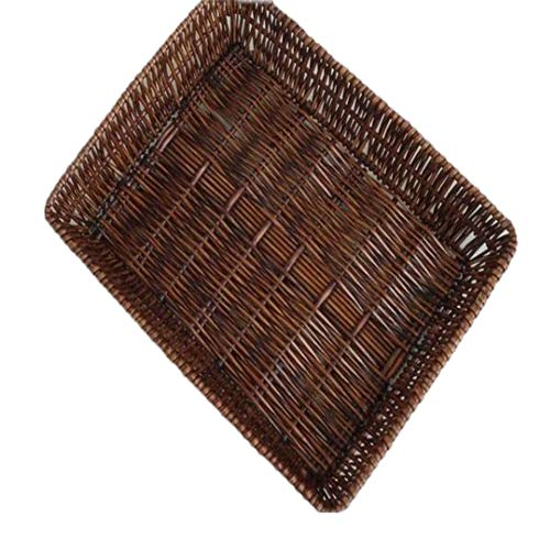 Handgewebter Öko- Weidenkorb,Bambus rattan aufbewahrung körbe wichtige spielzeug kosmetik lagerung boxs-braun 40x30x8cm(16x12x3inch)