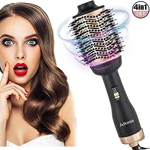 zug Rotierende 4 IN 1 Haartrockner, Multifunktionaler Warmluftbürste, One-Step Warmluftbürste Brush, Heißluftbürste Hair Styler&Volumizer Heißluftkamm Lockenwickler für all Haartype ()