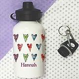 Trinkflasche für Kinder, personalisierbar, Zucker Herzen