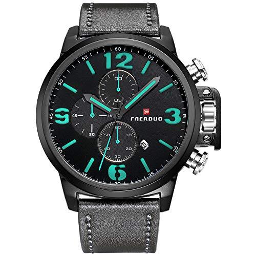 Männer Analog Quarz Uhren Lederband Multifunktions Wasserdichte Sport Armbanduhr mit Chronograph Datumsanzeige (Schwarz Grün)