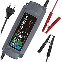 ERAYAK Caricabatterie Automatico per Auto 6V/12V 5A Mantenitore Carica Batteria Mantenitore Multipla Protezione per Auto e Moto, Presa Europea