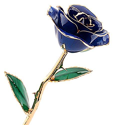 Rosa Real Bañada en Oro 24k, Hecho a Mano con Láminas de Oro y Rosa Real, Regalo Ideal Para el Día ee San Valentín Día de la Madre Navidad Cumpleaños y Boda, Amor Eterno con Caja de Regalo (azul)