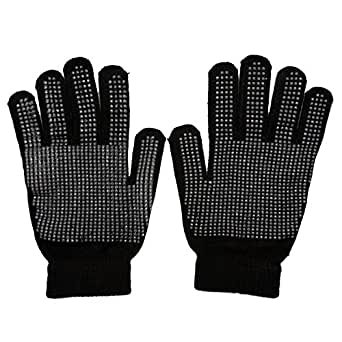 1 pair of Black Unisex Men Women Ladies Gripper Magic Gloves