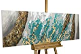 KunstLoft Acryl Gemälde 'Glacial Shore' 150x50cm | original handgemalte Leinwand Bilder XXL | Abstrakt Blau Grau Gold | Wandbild Acrylbild moderne Kunst einteilig mit Rahmen