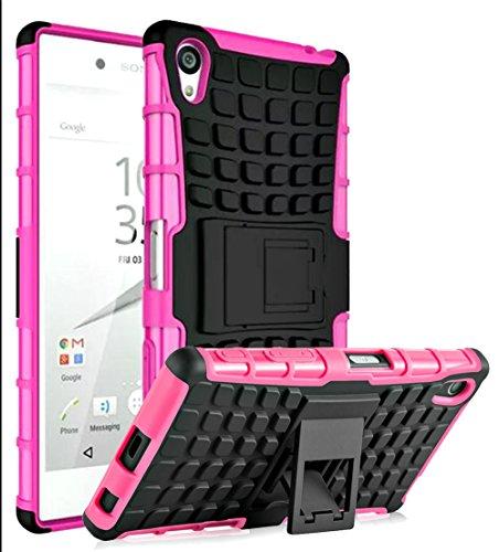 Preisvergleich Produktbild Sony Xperia Z5 Premium(2015) Hülle- Ultra Slim PU Silikon,Gitter Schutzhülle Muster Breath Ausstranhlen Stoßdämpfend Transparent Spiegel Schutz Handy Hülle Einface Case Mit Ständer Tasche Etui Bumper Sony Xperia Z5 Premium(2015)--5,5 Zoll[Rose]