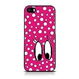 Call Candy Rückabdeckung zum Aufstecken für iPhone 5S - Farbe: rosa/weiß/schwarz, Motiv: Neuheit, Comic-Augen, weiße Punkte auf rosa Grund